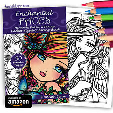 *NEW Fantasy Adult Enchanted Faces Coloring Book Fairy Mermaid Hannah Lynn Art
