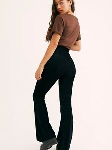 NWT FREE PEOPLE SZ L SLIM RIBBED VELVET PULL ON FLARES BELL PANTS BLACK
