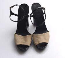 RALPH LAUREN Cream + Patent Stacked Heel - size 7.5