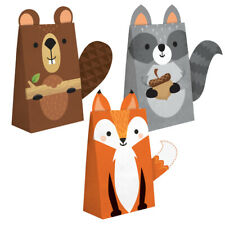 8 Wild Woodland Forest Animal Party Favour Treat Bag Pouch Box Fox Beaver Racoon