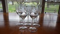 Clear Glass Water Glasses Goblets Gray Cut floral design 8 11oz stems