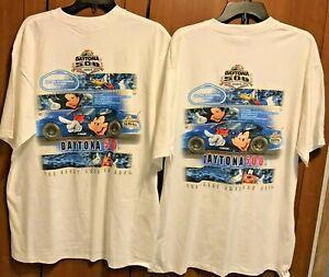 2 NASCAR  Daytona 500 T-Shirts Disney 2004 Men's Size XL White