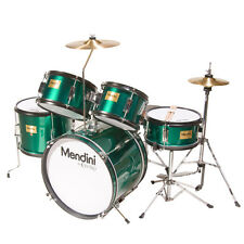 MENDINI GREEN 5-PC CHILD JUNIOR JR. DRUM SET KIT +STICK+THRONE+CYMBL