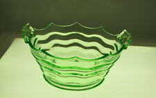 """Vaseline Pressed Glass Handled Bowl with Wavy Line Sections, 7 1/2"""" dia"""