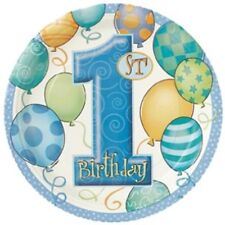 1st Birthday Blue Balloons Party Dessert Plates