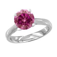 0.15 Carat Pink SI2 Round Diamond Solitaire Ring 14K WG Valentineday Spl.Sale