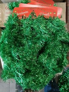 12Pcs 5M Traditional Christmas Tinsel Spark Party Home Decoration Green Bulk