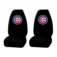 2 pc MLB Chicago Cubs Black Front Highback Seat Covers Universal Set New