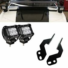 "2x 4""inch LED Fog Light Pod+Pillar Mount Bracket POLARIS RZR 4 1000 900 570 800"