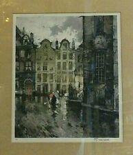 Antique French Apres la Pluie Signed Ltd. Ed Aquatint Listed Artist F. Luigini