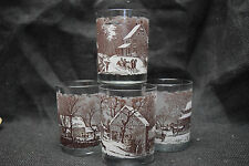 Currier & Ives Bar Glasses - Four - From Lithographic Prints -4 1/2 inches tall