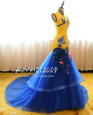 Gothic Chipao Vintage Cheongsam Lace Gown Evening&Wedding Yellow Blue Dress