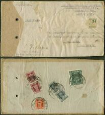 Nepal/India Offices 1952 diplomatic bag tag/six stamps