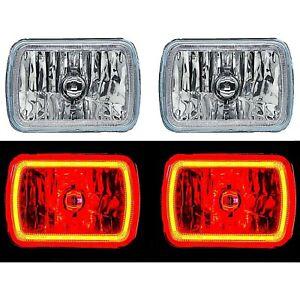 "7X6"" Plasma Red COB LED Glass/Metal Headlight Halogen Light Bulbs Headlamp Pair"