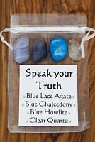 Speak your Truth Crystal Gift Set Blue Lace Agate Chalcedony Howlite Quartz