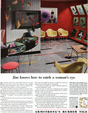 Charles Eames Yellow Plastic Armchair ARMSTRONG RUBBER TILE Shoe Store 1953 Ad
