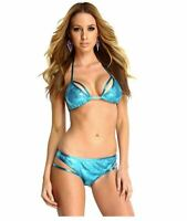 Blvd Collection by Forplay Women's Bahamas Sequin Triangle Bikini, Turquoise Med