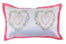 EMBROIDERED HEART FLORAL BOUDOIR PINK WHITE GREEN YELLOW CUSHION COVER 30 X 50CM