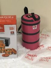 Milton Microwow 3 Insulated Tiffin with Inner Steel, 250 ml, 3-Pieces Pink