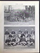 WW1 FOXHOUND ENGLAND ROYAL RIFLES HOCKEY WINNERS INDIA ANTIQUE PRINT 1905