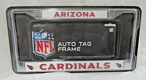 NFL Arizona Cardinals Chrome License Plate Frame Thick Red Letters