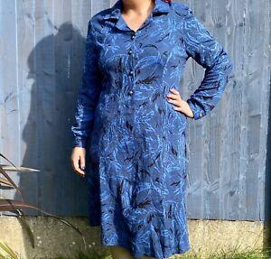 Vintage Blue Knit Midi Dress - Size 14 - Graphic Print