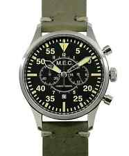 Orologio Uomo Cronografo Quarzo Vintage Acciaio Militare Subacqueo MEC Nuovo