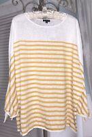 New Plus Size 2X 3X Yellow Gold Top Striped Blouse Shirt $88
