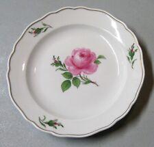 "Meissen Pink Rose 7"" Dessert Plate with Gold Trim Crossed Swords Mark"