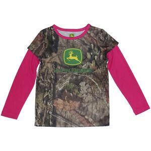 NEW John Deere Girls Mossy Oak Camo & Pink Long-Sleeve T-Shirt, Size 4, 5, 6, 6X