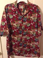New Hilo Hattie Hawaiian Travel Vacation Floral Aloha Camp Shirt Men's L