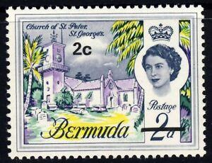 BERMUDA QE II 1970 2c. Overprint VARIETY WATERMARK CROWN TO RIGHT SG 233ew MINT