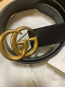 Gucci Belt Double G Buckle Black Leather brand new 105/42