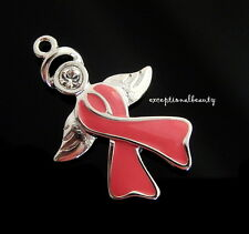 Silver Angel Breast Cancer Ribbon Charm Pendant Swarovski Crystal Rhinestone