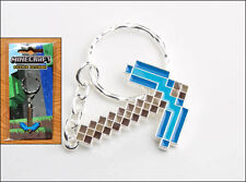 Minecraft Diamond Pickaxe Metal Replica Keychain KeyRing Officially Licensed NEW