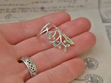.925 Silver Flower Ring with Enamel Leaves/ Branches Adjustable