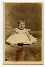 Girl in Boat Neck Dress, Victorian Fashion CDV Photo, St. Catharines, ON