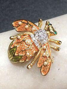 JOAN RIVERS Pretty Enamel Gold Tone Rhinestone Faux Pearl Bug BEE Brooch Pin