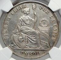 1871 YJ PERU South America Antique Original Silver Peruvian Sol NGC Coin i82950