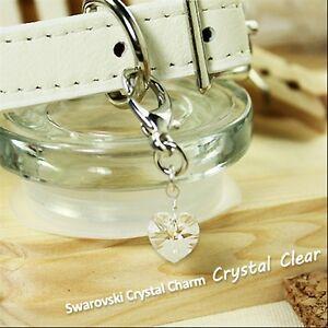 Dog/Cat Luxury Cute Collar Charm- Crystal Clear Swarovski Heart Pet WhiteDiamond