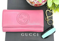 Gucci Authentic Soho GG Logo Pink Leather Clutch Long Carry All Wallet $760