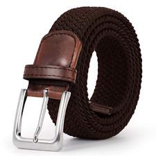 Fashion Unisex Mens Elastic Canvas Woven Pin Buckle Waist Belt Stretch Waistband