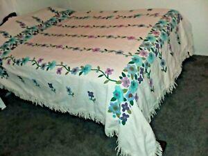 Vtg Complete Bucilla #8390 Bedspread Floral Appliqué Hand Stitched Applied Full