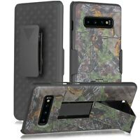 Samsung Galaxy S10 +PLUS Armor Shell Holster Combo Case & Belt Clip Camo +Screen