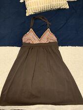 Victoria Secret  Size M Bra Top Halter Dress Brown Pink Sequin V-Neck