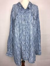 Catherines Woman's Blue Button Down Pockets long sleeve Top Plus Size 4X Tunic