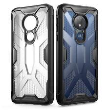 For Motorola Moto G7 Power (2019) + Shockproof 360° Bumper TPU Cover Case Black