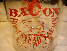 Vintage Bacon Homestead Farms Glass Quart Milk Bottle Dairy Albion NY RARE!