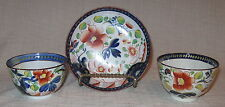 Early 19th Century Gaudy Dutch Single Rose 2 Handless Cups and 1 Saucer