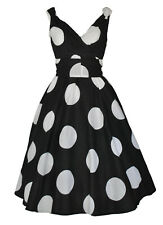 Vintage 50's White Big Black Dot Cotton Swing Dress BNWT UK Size 14